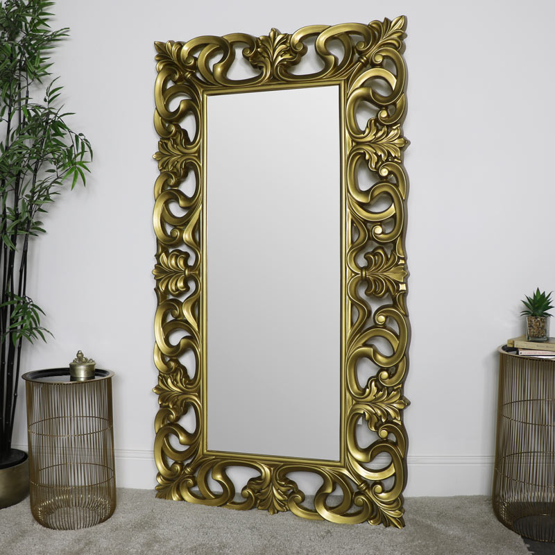 Large Ornate Gold Wall Floor Mirror 90cm X 168cm Melody Maison