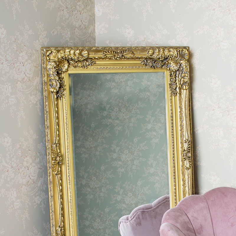 Large Ornate Gold Wall / Leaner Mirror 78cm x 158cm