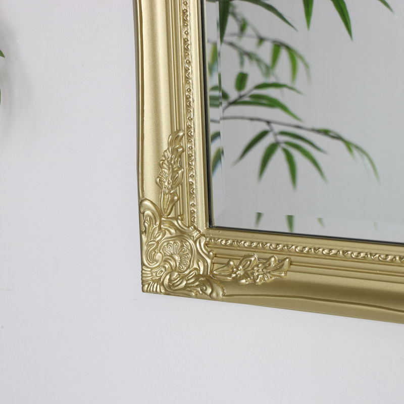 Large Ornate Gold Wall Mirror 82cm X 62cm Melody Maison