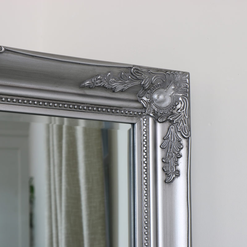 Large Ornate Silver Wall / Floor / Leaner Mirror 158cm x 78cm