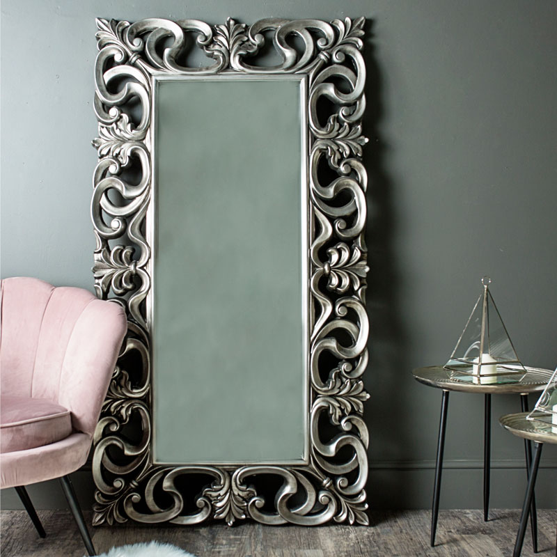 Large Ornate Silver Wall Floor Mirror 90cm X 168cm Melody Maison