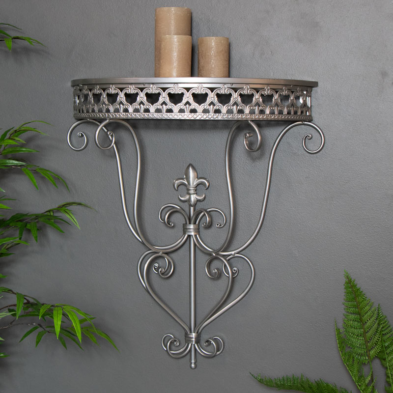 Large Ornate Silver Wall Sconce Shelf