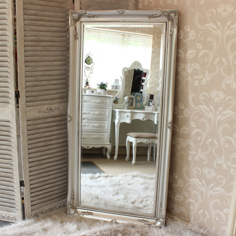 Large ornate silver wall floor mirror melody maison - Grand miroir ancien pas cher ...