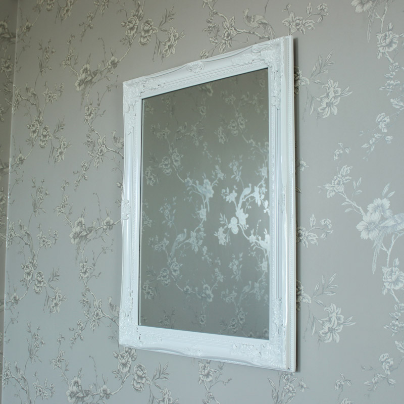 Large Ornate White Gloss Wall Mirror