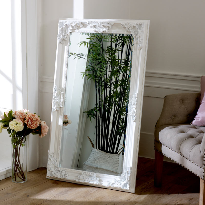 Large Ornate White Wall / Leaner Mirror 70cm x 120cm