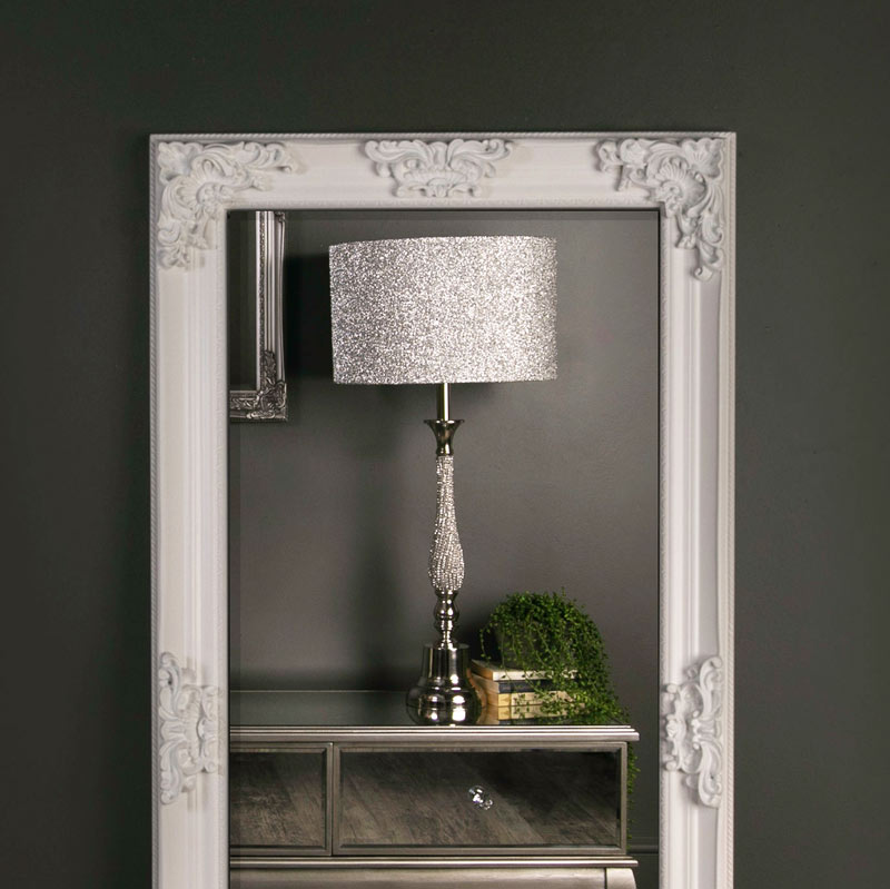 Large Ornate White Wall / Leaner Mirror 78cm x 158cm