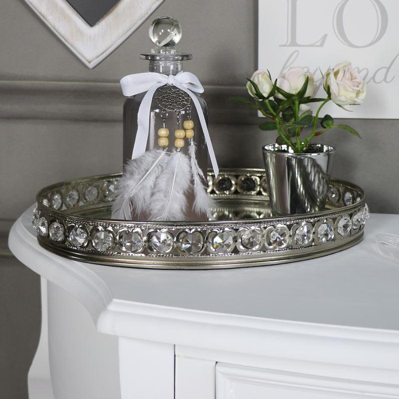 Large Oval Mirrored Jewel Display Tray, Silver Mirror Tray Decor