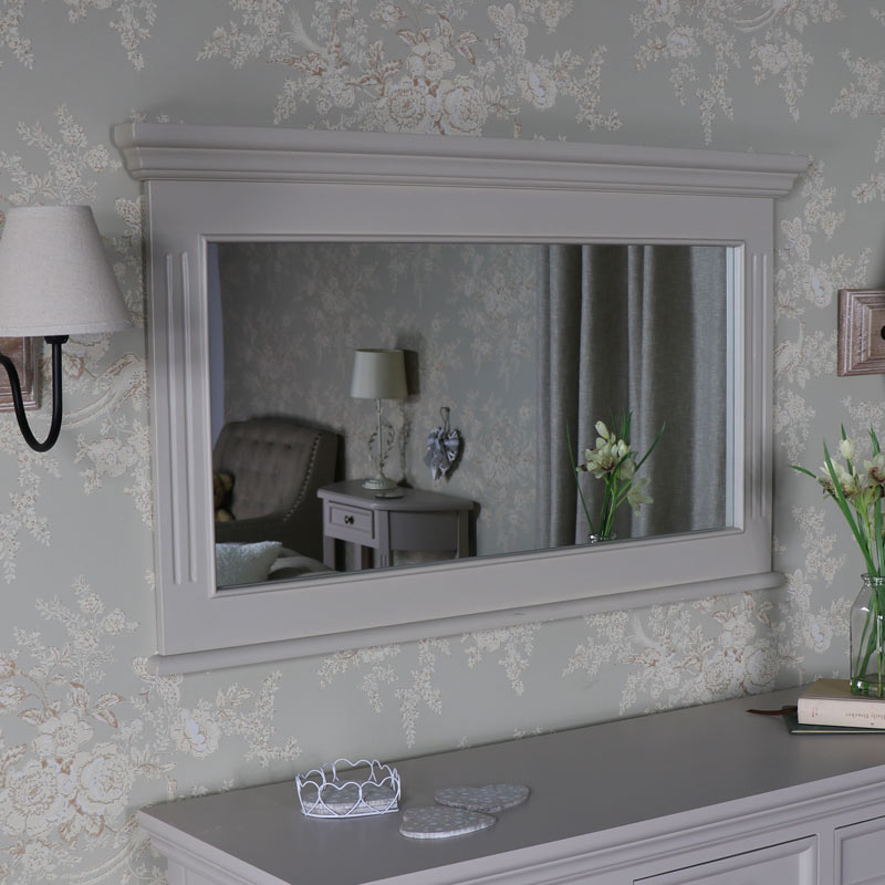 Large Grey Wall Mirror – Daventry Taupe-Grey Range 105cm x 62cm