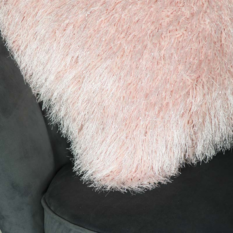 Large Pink Silver Shaggy Scatter Cushion