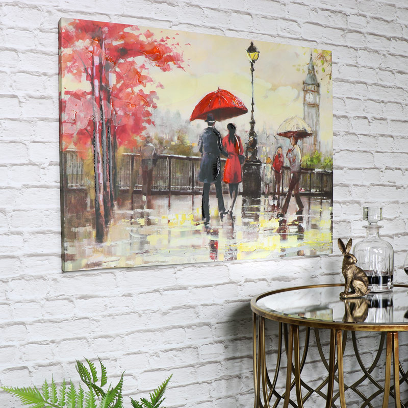 Large Rainy Day In London Canvas Wall Art ...