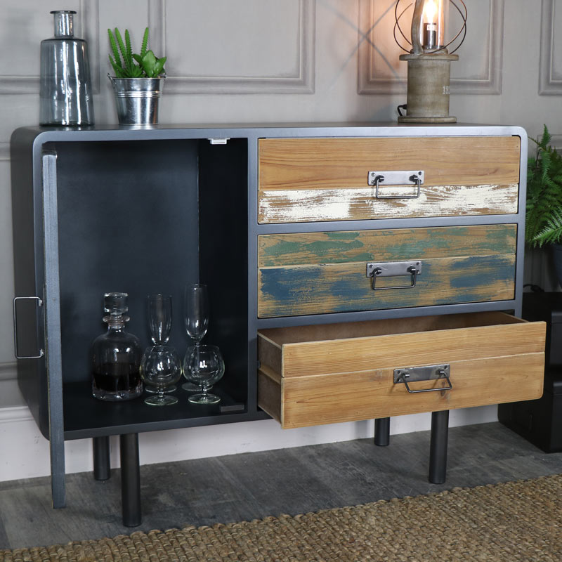 Large Retro Industrial Sideboard – Chicago Range