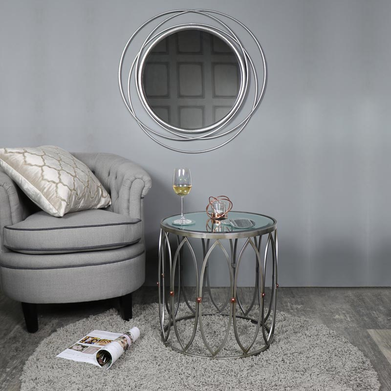 Large Round Antique Silver Swirl Mirror 80cm X 80cm