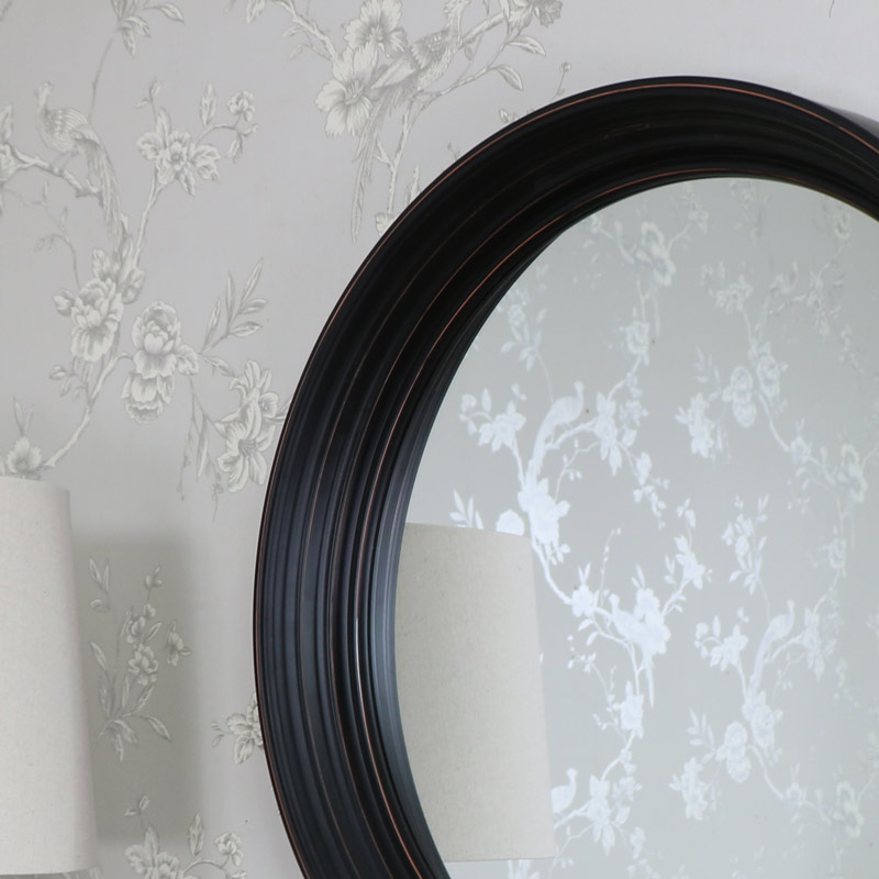 Large Round Black Wall Mounted Mirror