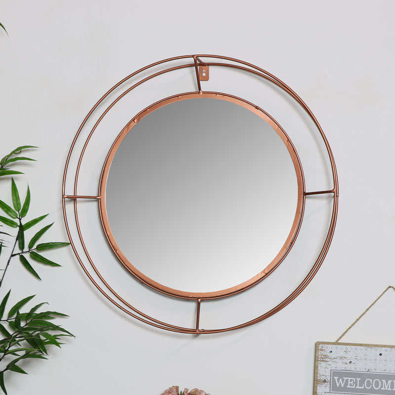 Large Round Copper Metal Framed Wall Mirror