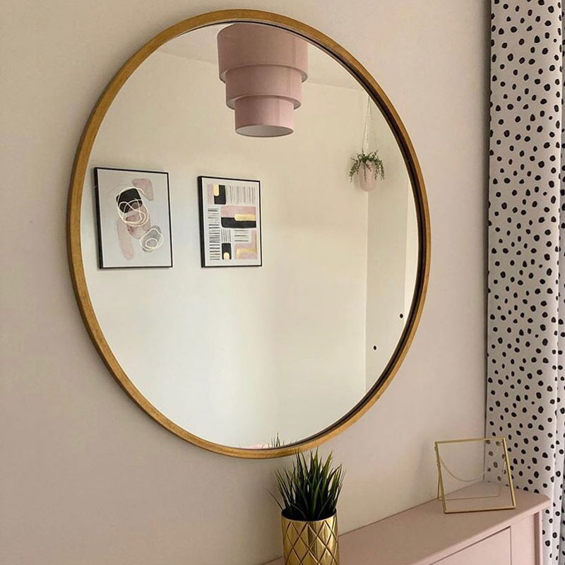 Large Round Gold Framed Wall Mirror, Large Gold Frame Circular Mirror
