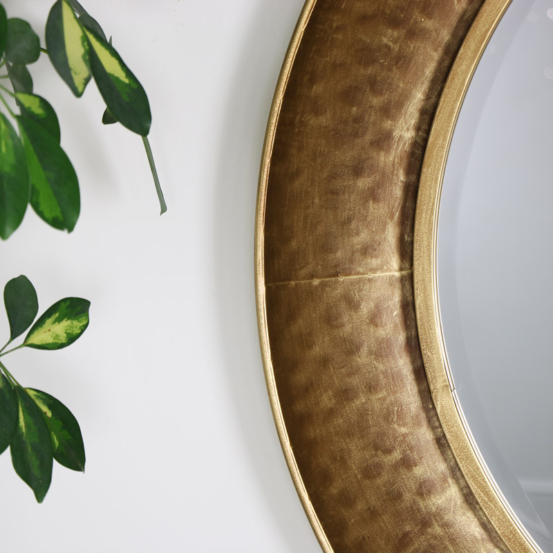 Large Round Gold Hammered Rim Wall Mirror
