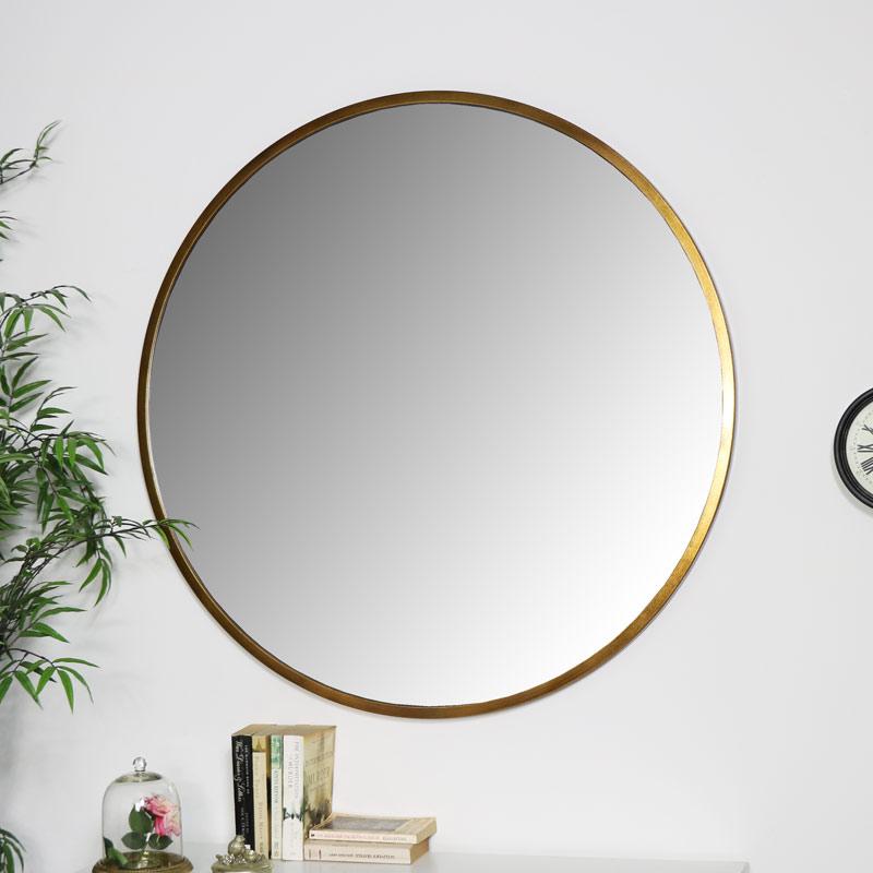 Large Round Gold Mirror 100cm X, X Large Round Gold Mirror