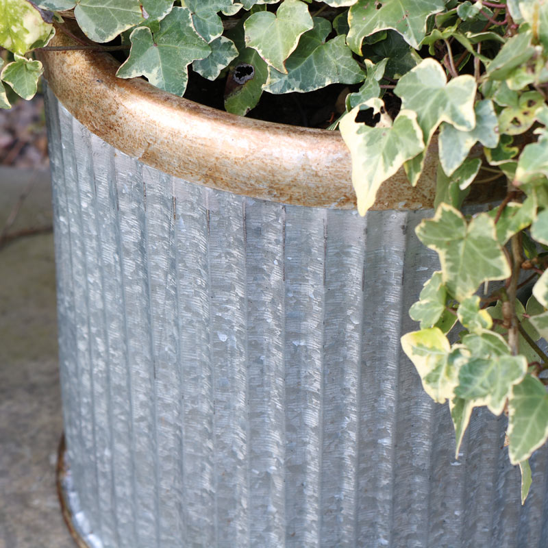 Large Round Grey Metal Industrial Style Planter