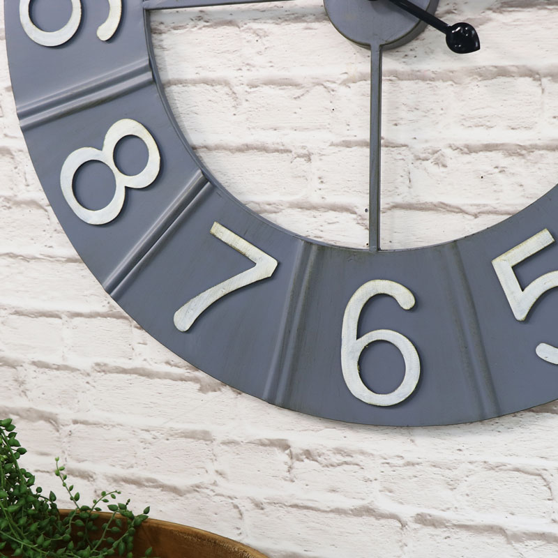 Large Round Grey Metal Wall Clock