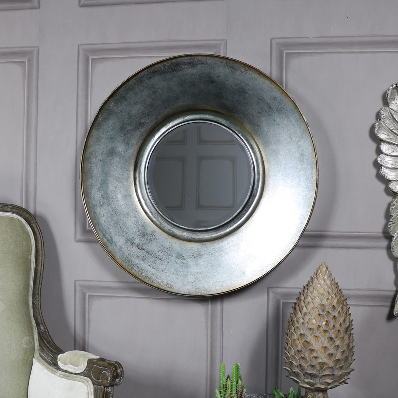 Large Round Grey Wall Mirror