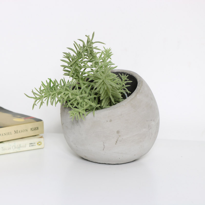 Large Round Inclined Grey Stone Plant Pot