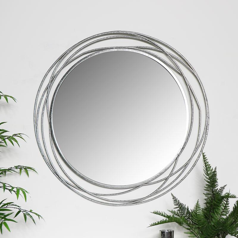 Large Round Silver Swirl Mirror 92cm X, Ornate Round Silver Wall Mirror