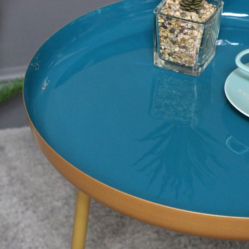 Large Round Teal & Gold Side Table