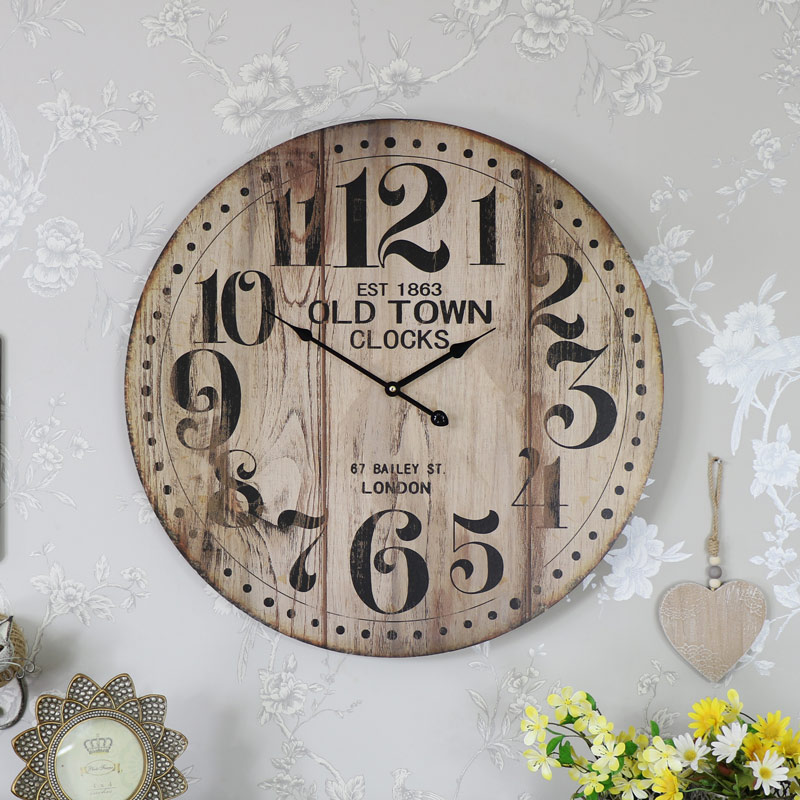 Large Round Wooden Vintage Style Wall Clock Melody Maison 174