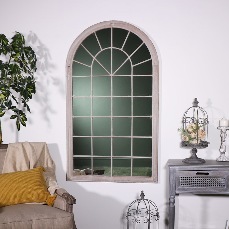 Large Rustic Arched Window Mirror
