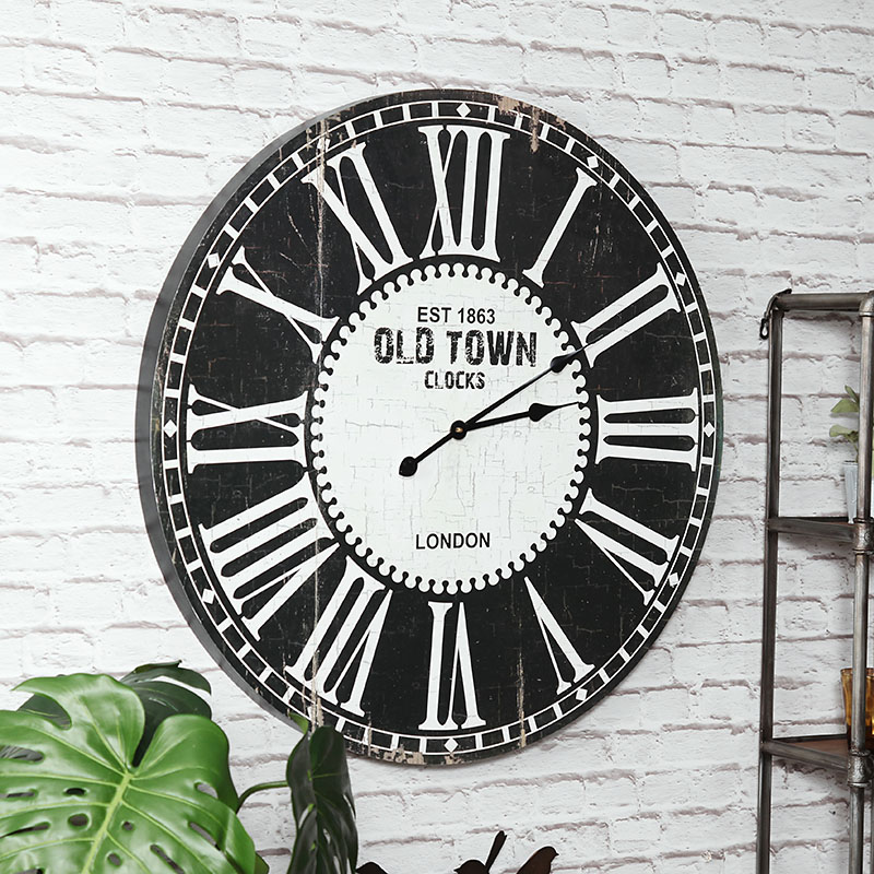 Large Rustic Black and White Wall Clock