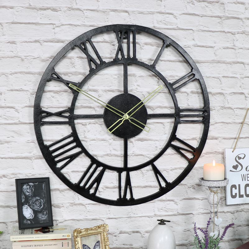 Large Rustic Black Skeleton Wall Clock Melody Maison 174