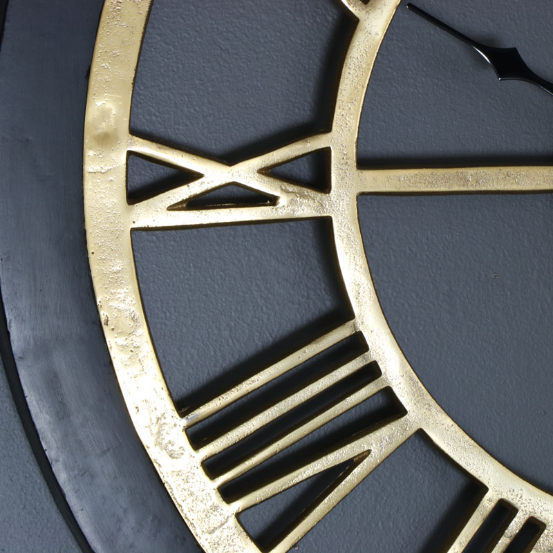 Large Rustic Brass Amp Wood Skeleton Wall Clock Melody Maison 174
