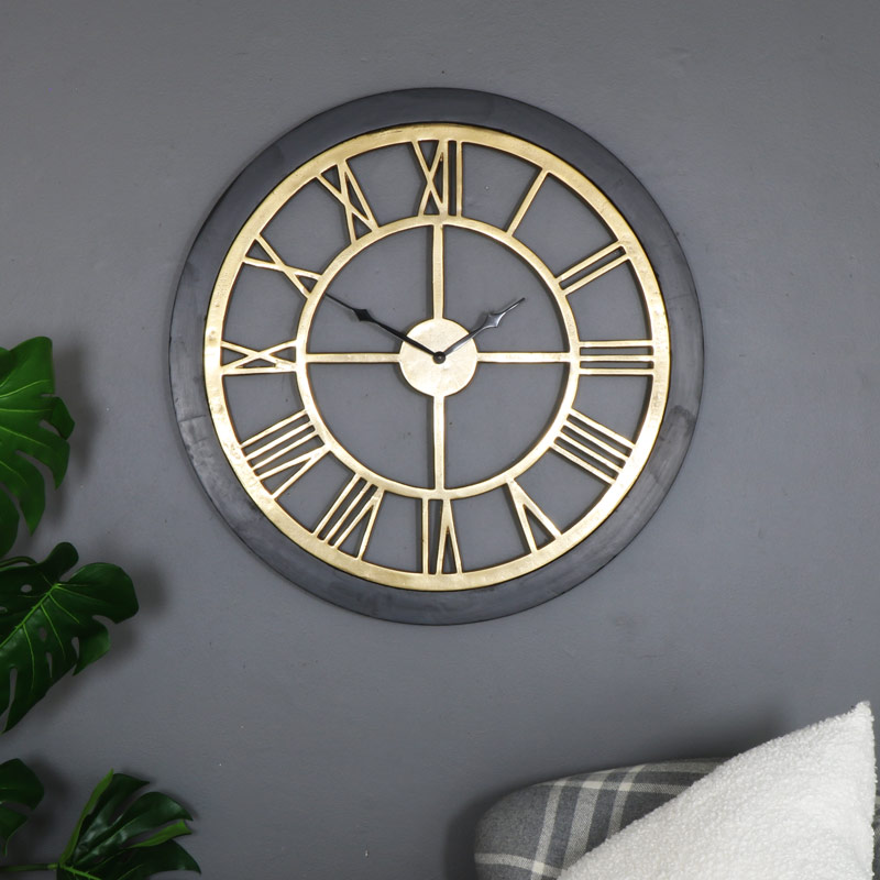 Large Rustic Brass & Wood Skeleton Wall Clock