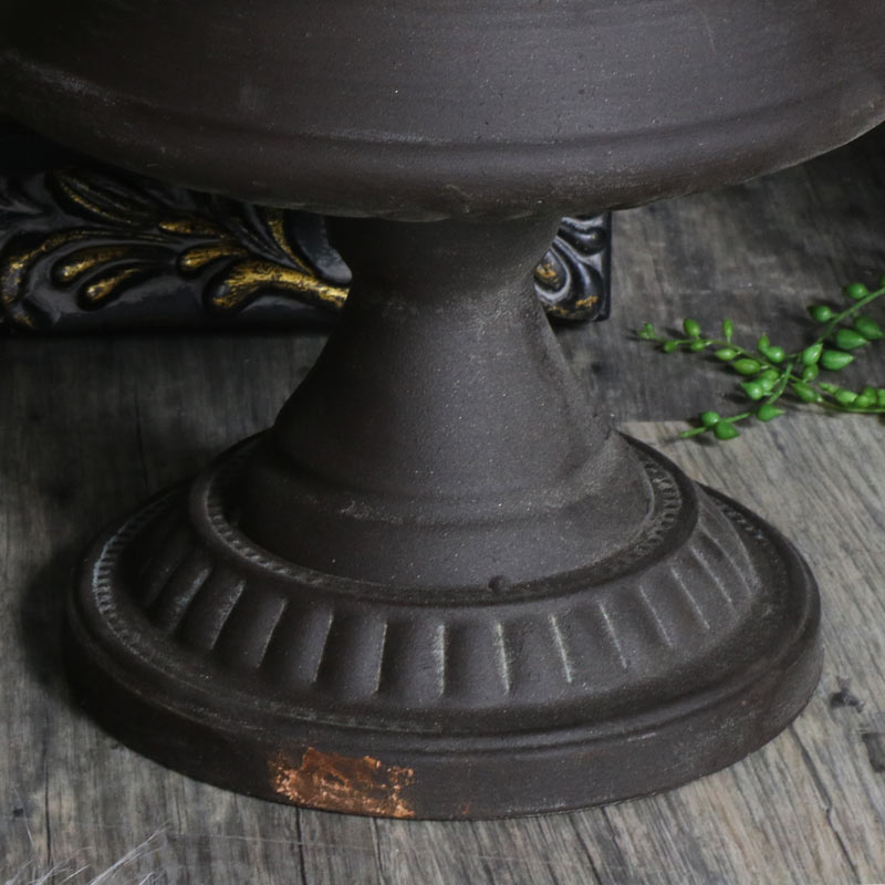 Large Rustic Distressed Black Metal Urn