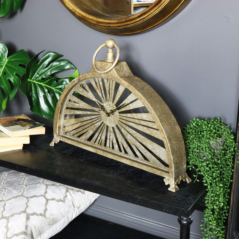 Large Rustic Gold Arched Mantel Clock