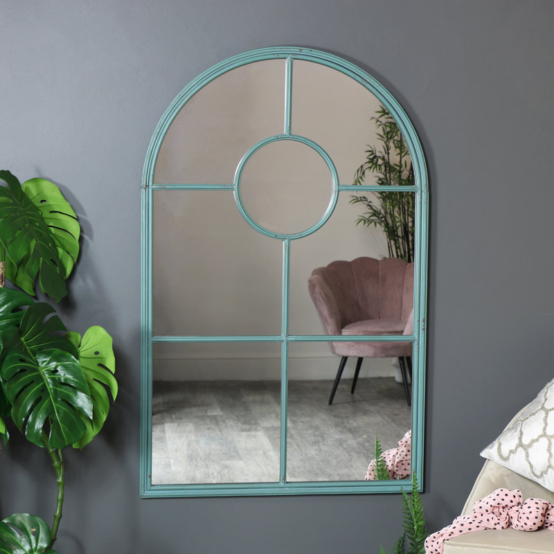 Large Rustic Blue Metal Arched Wall Mirror 79cm x 124cm
