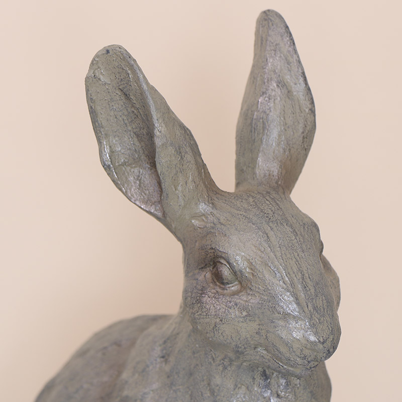 Large Rustic Grey Rabbit Ornament