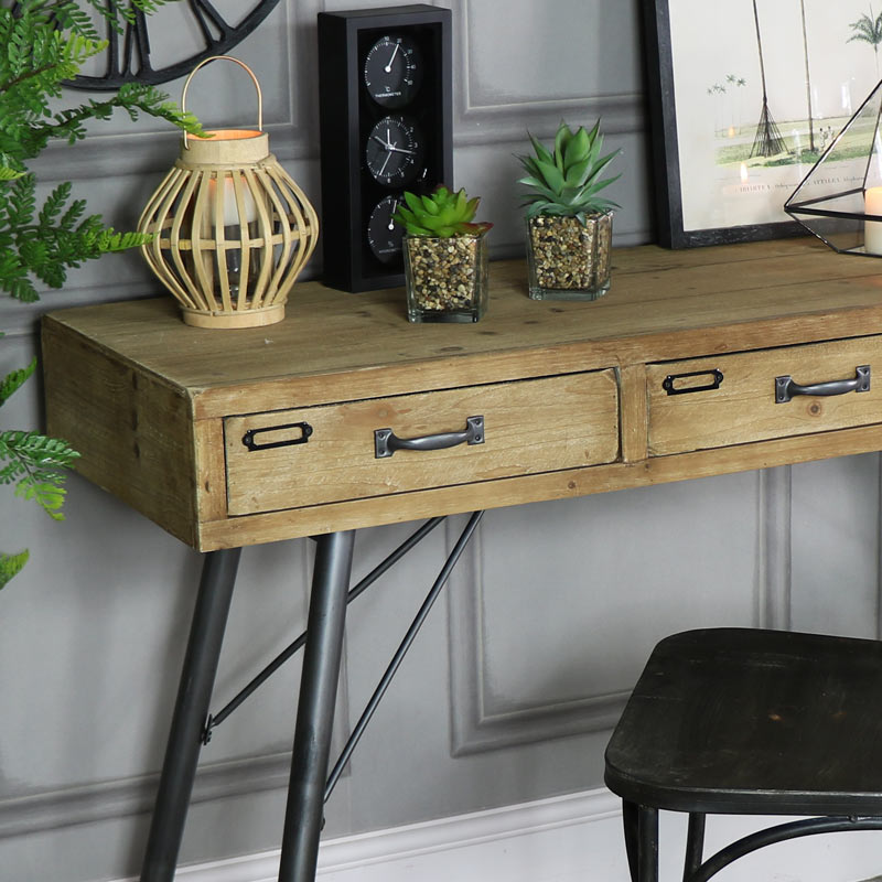 online retailer cc3bf da59a Large Rustic Industrial Three Drawer Desk