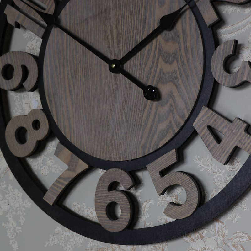 Large Rustic Numbered Wall Clock