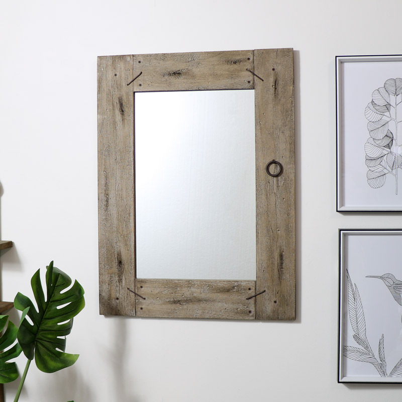 Large Rustic Wooden Framed Wall Mirror, Wood Rustic Mirror