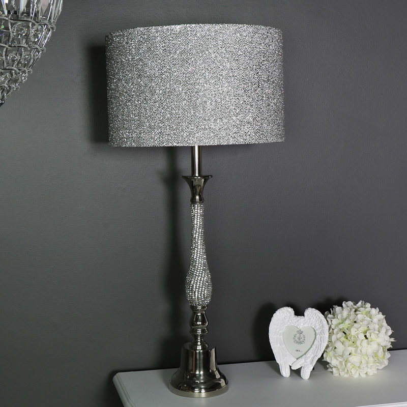 Large Silver Diamante Table lamp with Glitter Shade