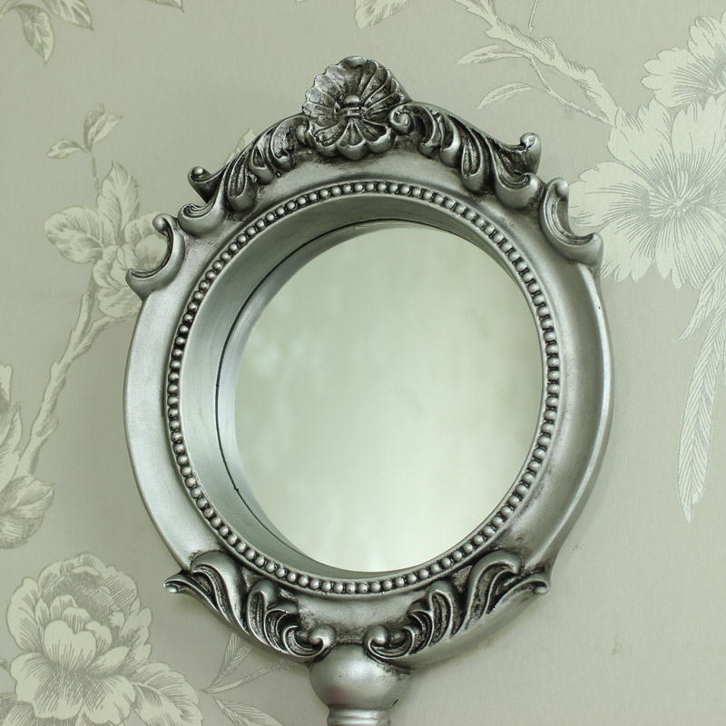 Large silver handheld vanity mirror melody maison for Large vanity mirror
