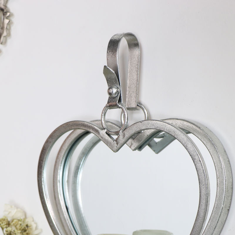 Large Silver Hanging Heart Mirror Candle Sconce - Melody ...