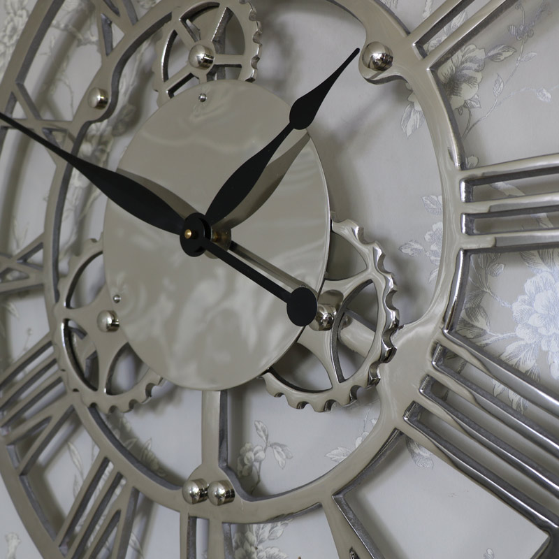 Large Silver Nickel Cog Skeleton Wall Clock