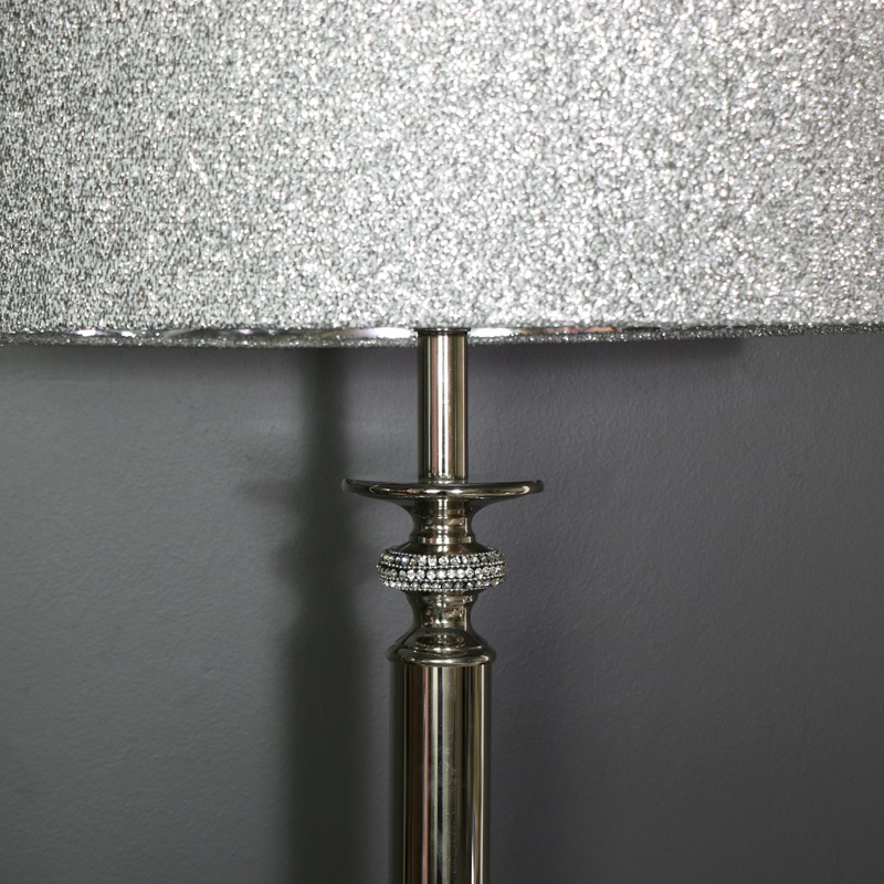 Large Silver Nickel Diamante Table Lamp