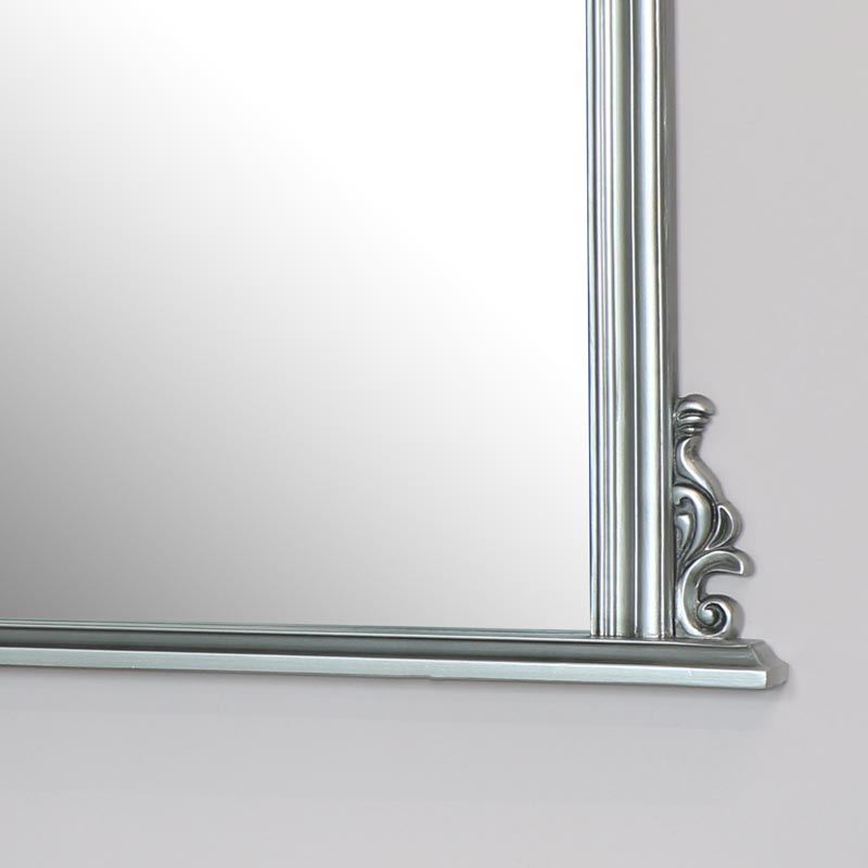 Large Silver Overmantel Wall Mirror 94cm x 104cm