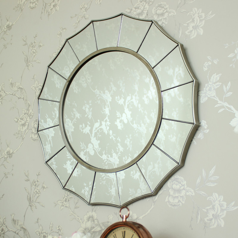 Large Silver Sunburst Art Deco Wall Mirror