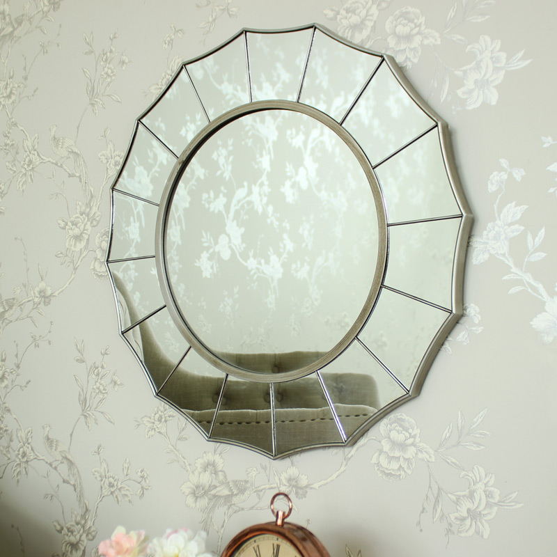 Silver sunburst art deco wall mirror shabby ornate chic bedroom ...