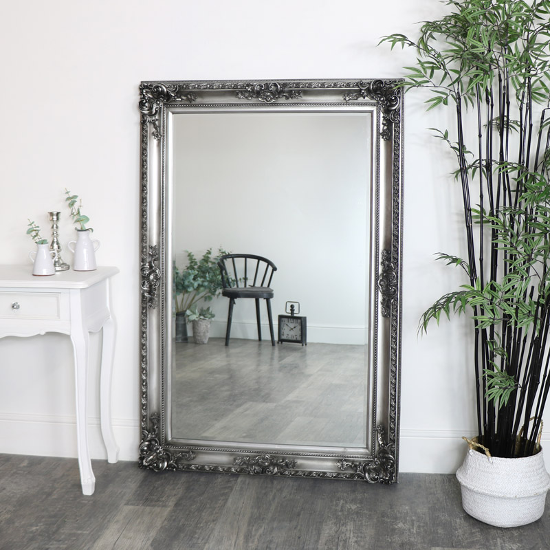 Large Silver Wall Leaner Mirror 100cm, Large Leaner Mirrors