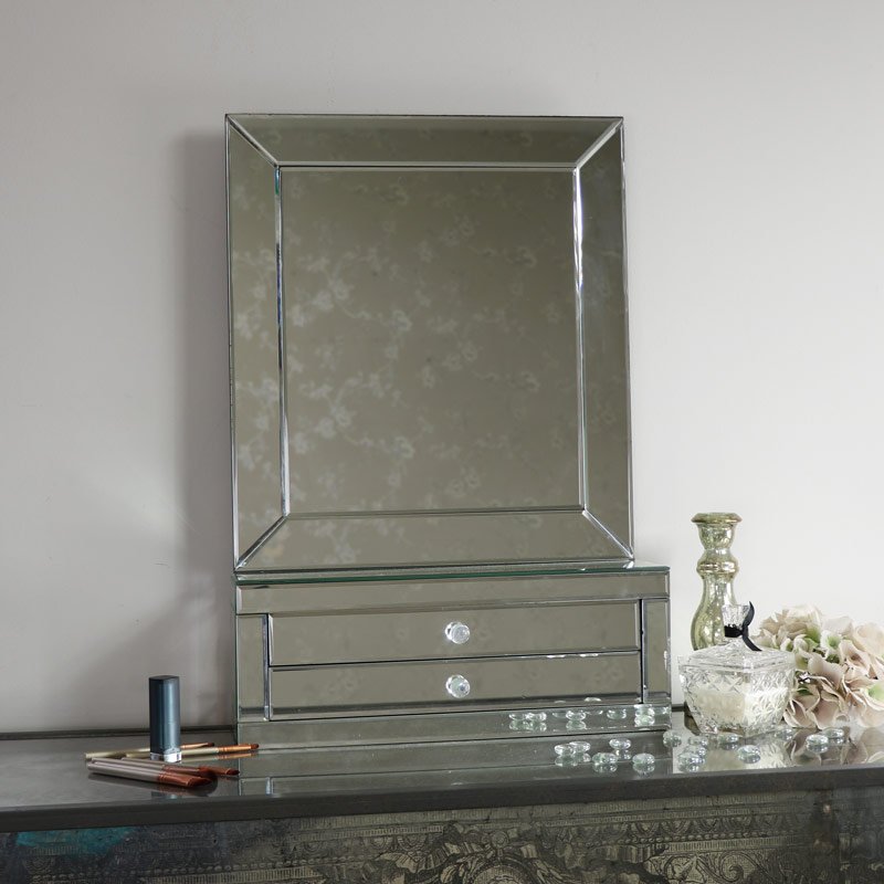 Large Tabletop Vanity Mirror With  Drawers